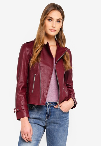 ESPRIT red Outdoor Leather Crop Jacket D3175AA3CB0281GS_1
