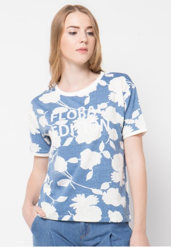 Bossini blue S/S R/Nk Allover Floral Prt. Tee W/Puff Graphic(Bl:23) BO894AA90UDPID_1