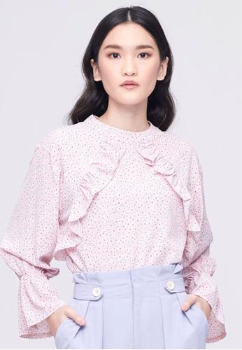 MC Vogue pink Light Pink Floral Ruffle Top 690D5AACF3B8D6GS_1