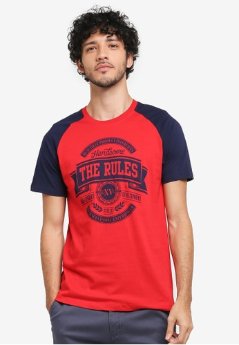 Fidelio red The Rules Contrasted Sleeves Graphic T-Shirt 33058AA2D97770GS_1