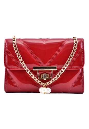 Vince red Cute Chain PU Leather Sling Bag (Red) FL898AC90HJDMY_1
