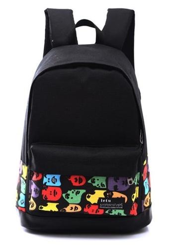 Jackbox black Korean Fashion Blackie With Design School Bag Daypack Backpack 524 (Colourful Face) JA762AC0S50VMY_1