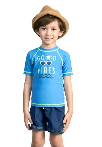 Lee Vierra blue Good Vibes Boys T-Shirt & Board Short 55463KA614A33DGS_1