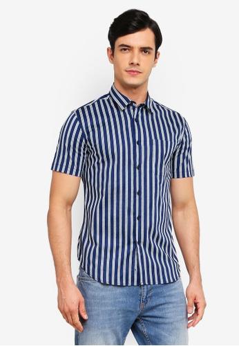 Electro Denim Lab 藍色 印花Stretch 短袖襯衫 27123AA7C8E6ECGS_1