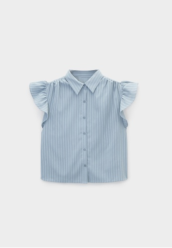 Pomelo blue Ruffled Sleeves Striped Shirt - Blue D56A8AAAB6F04CGS_1