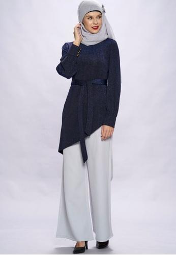 Loveaisyah navy Navy Muslimah high neck Top and Pants Set C6862AA591D2D1GS_1