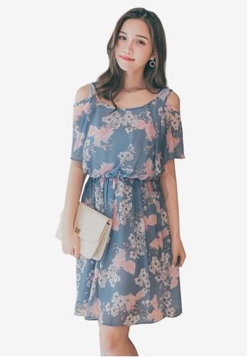 Yoco blue Cold Shoulder Floral Dress 5DA70AA6BC386AGS_1