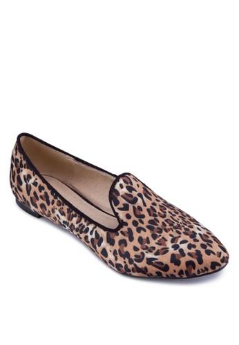 esprit 高雄豹紋樂福鞋, 女鞋, 平底鞋