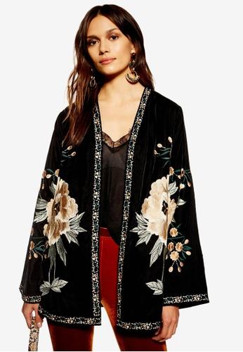 TOPSHOP black Velvet Embellished Kimono Cardigan 60A1FAAE0DD7E4GS_1