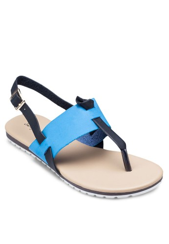 撞色Tzalora 內衣字繞踝涼鞋, 女鞋, 鞋