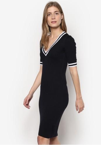 條紋邊飾修身連身esprit台灣裙, 服飾, 洋裝