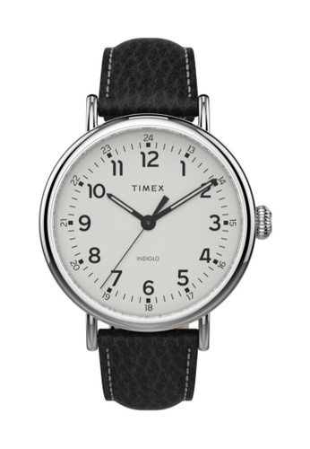 TIMEX black and silver Timex Standard XL 43mm- Silver-Tone Case, Black Strap (TW2T90900) 2EBB7AC3D44B4FGS_1