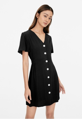 Pomelo black Ruched Waist Button Up Dress - Black 1043AAA965AB9CGS_1