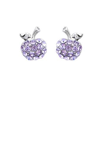 Glamorousky purple Glistening Apple Earrings with Purple Austrian Element Crystals 1143CACF412ABFGS_1