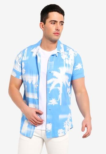 Jack & Jones 藍色 短袖印花襯衫 91310AA24EE281GS_1