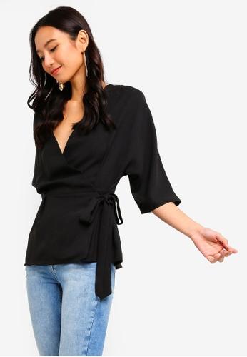 ZALORA 黑色 Kimono Wrap Top 48EA3AAB9B3E3DGS_1