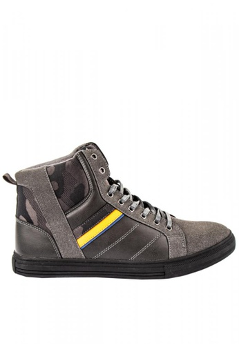 Otto grey Striped High-Top Sneakers 31569SH02945F9GS_1