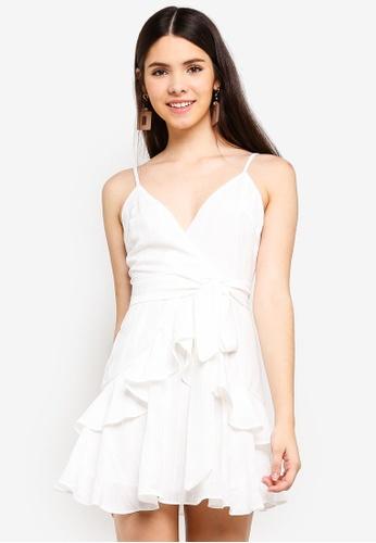 INDIKAH white Tiered Ruffle Dress With Sash 7BEE1AA1BA0FCBGS_1