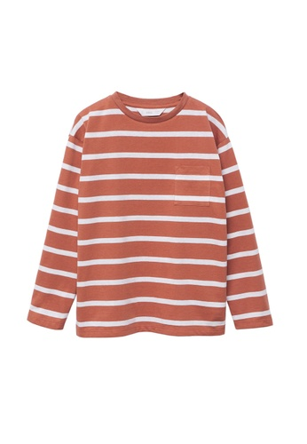MANGO KIDS orange Striped Long Sleeves T-Shirt 5C6CBKAA3E5B51GS_1