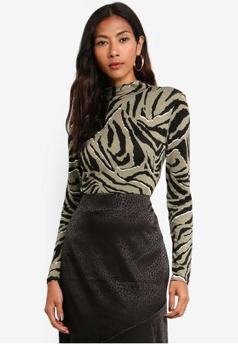 Dorothy Perkins 綠色 斑馬紋高領上衣 69A50AA78FFB87GS_1