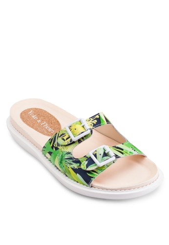 Maesprit門市地址e 花卉印花寬帶涼鞋, 女鞋, 鞋