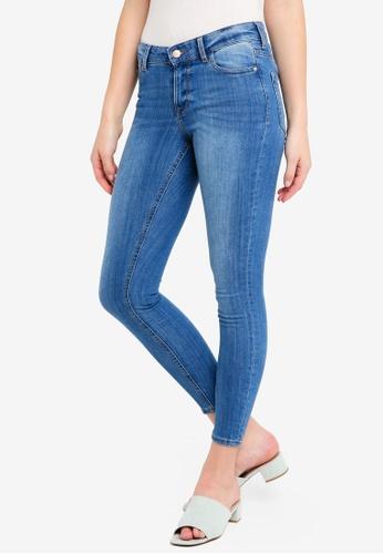 Miss Selfridge black Sofia Skinny Mid Blue Jeans 207BBAAFC3C5EEGS_1