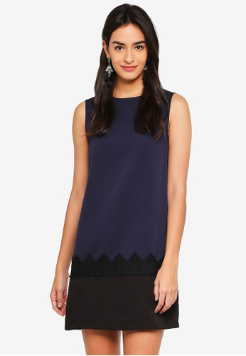 ZALORA navy Colorblock Dress with Lace 7D950AA32D7779GS_1