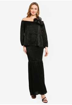 9a15d67099d13 Lubna black Embellished Puff Sleeves Flare Kurung 6BB7CAA198659AGS_1