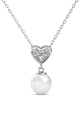 Her Jewellery Pearl Heart Pendant - Made with premium grade crystals from Austria HE210AC0GRBLSG_1