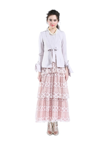 Lunaria Peach Kebaya Blazer with Lace Layer Skirt from Hernani in Pink
