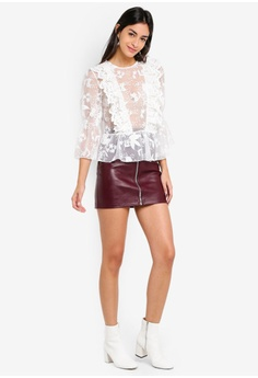 eb1ea86550fbfd 39% OFF TOPSHOP Ruffle Embroidered Blouson S  126.00 NOW S  76.90 Available  in several sizes