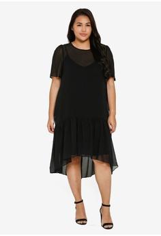 3567192315608f LOST INK PLUS black Plus Size Textured Swing Dress 61D24AA5222F98GS_1