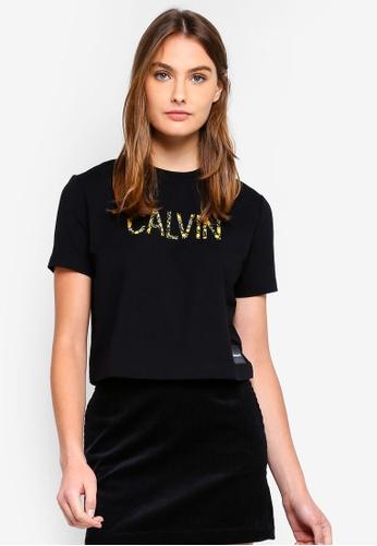 Calvin Klein black Short Sleeve Fa Logo Baby Tee AEC23AACF5E61BGS_1