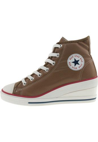 Maxstar Maxstar Women's 7H Zipper PU Low Wedge Heel Sneakers US Women Size MA168SH77CHAHK_1