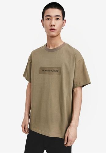 URBAN REVIVO green Message Printed T-Shirt 44F6CAA69569EBGS_1