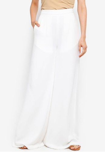 AfiqM white Wide Leg Pants 01757AA6077D5FGS_1