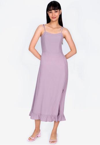 ZALORA BASICS 紫色 綁帶Strap 開叉洋裝 F4A77AAE9CA5F5GS_1