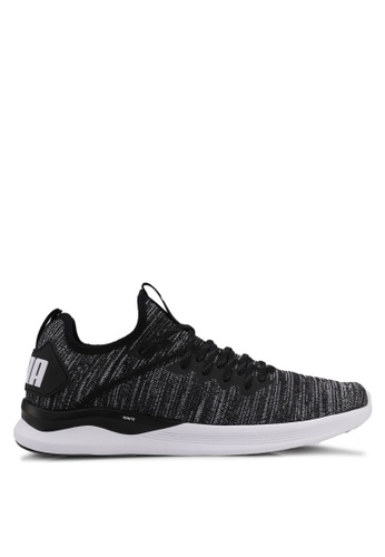 Puma black and grey and white Ignite Flash Evoknit Shoes PU549SH0SWD6MY_1