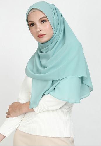 POPLOOK green Aida Chiffon Tudung Headscarf 068DFAA51797FFGS_1