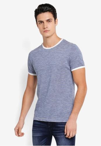 ZALORA blue and multi Rib Neck Stripe Tee 499B1AAA4525D9GS_1