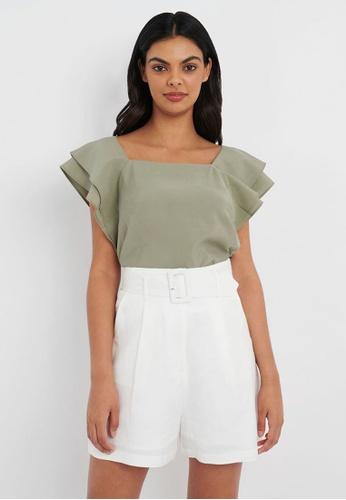 FORCAST green FORCAST Hana Frill Sleeve Top B36CEAA71D5D60GS_1