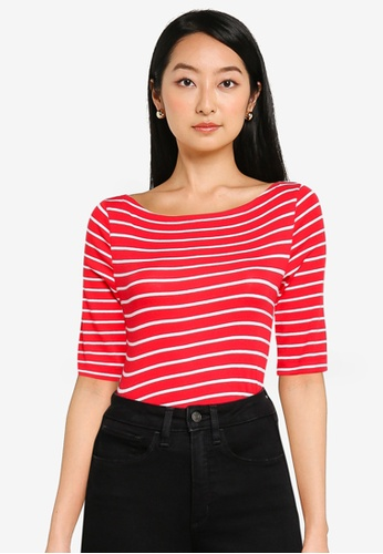 GAP red Striped Boat Neck Top 125B4AAA1BE699GS_1