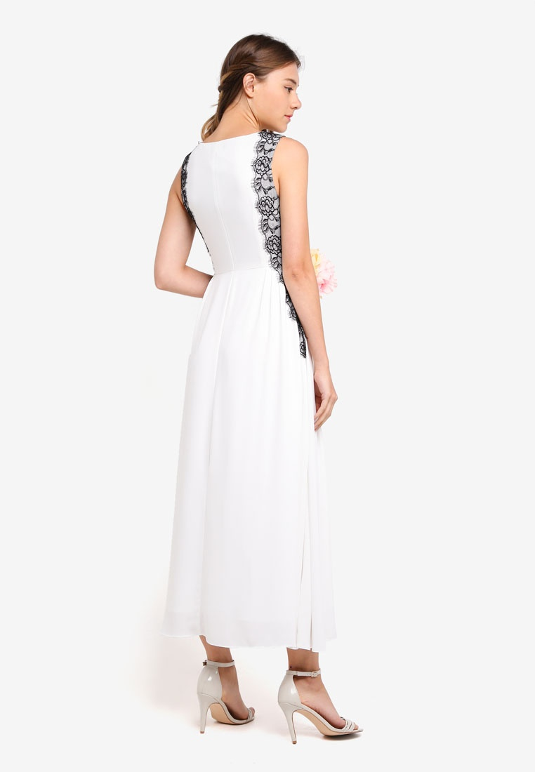 Panelled Maxi Lace Bridesmaid Side Dress White ZALORA qA7W5Bwx