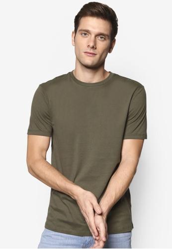 Topman 綠色 Khaki Jersey Slim Fit T-Shirt TO413AA00SPZMY_1
