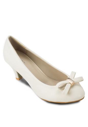 Jacinta 蝴蝶結zalora 心得仿皮高跟鞋, 女鞋, 厚底高跟鞋