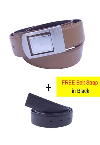 Goldlion brown Goldlion Men Leather Plate Belt - Brown 6BAEAAC85BBE0AGS_1