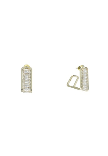 Red's Revenge gold 14K Gold Plated Sparkle Square Hoop Earrings D0524ACC0E8C25GS_1