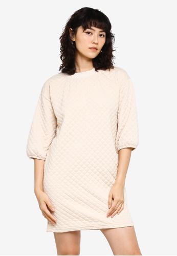 JACQUELINE DE YONG beige Napa 3/4 Quilted Dress B14C1AA8E9EA41GS_1