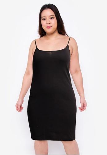 Cotton On black Plus Size Cassie Strappy Mini Dress 9B2B6AA91BF15FGS_1