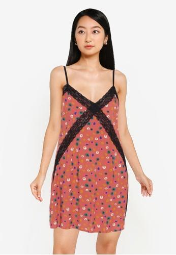 ZALORA BASICS pink and multi Lounge Print Lace Slip Dress 11246AA763E6ACGS_1